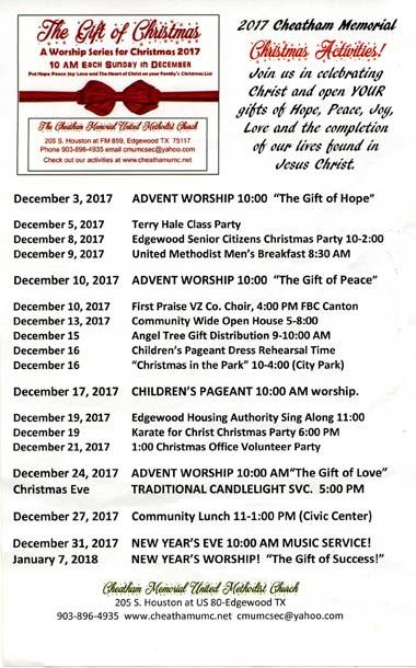 2017 Christmas Activities