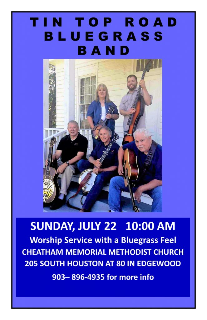 Special Summer Worship:  Bluegrass Style July 22