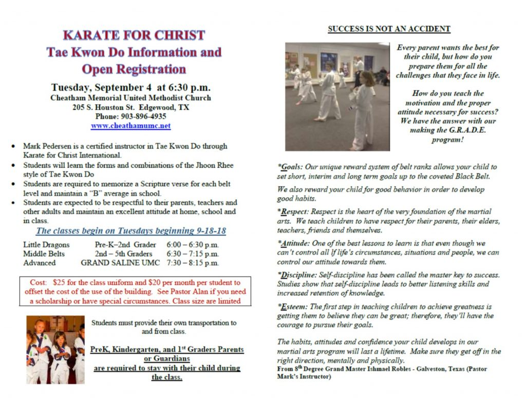 Cheatham Karate for Christ Fall 2018 Registration!